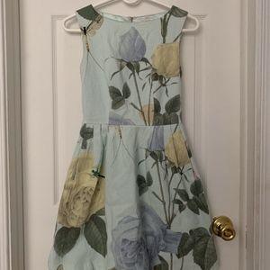 Ted Baker Blue Floral A Line Midi Dress Size 0